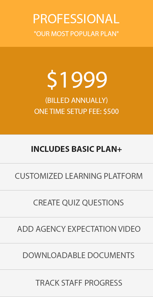 Orange Pricing Table